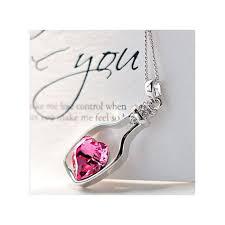 women fashion por crystal necklace love drift bottles hot pink