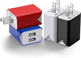 <b>USB</b> Wall Charger, 4 Pack <b>5V</b>/<b>2.1A Dual</b> Port Portable <b>USB</b> Wall ...