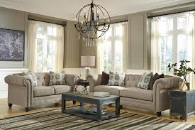 Living Room With Chesterfield Sofa Transitional Chesterfield Sofa With Linen Blend Fabric By