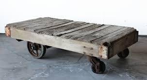 Mill Cart Coffee Table Antique Industrial Railroad Factory Cart Coffee Table