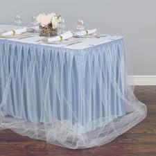 Light Blue Table Skirt 21 Ft Two Tone Tulle Chiffon Table Skirt Baby Blue White