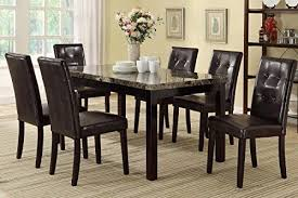 leather dining room set poundex f2093 f1078 faux marble top w brown leatherette chairs of