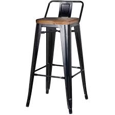 wooden seat bar stools. Metropolis Low Back Bar Stool, Wood Seat, Black, Set Of 4 Wooden Seat Stools L