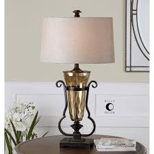 Water Lamps Uttermost 26594 Aemiliana 1 Light Table Lamp In Light Amber Water