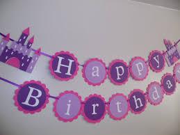 Purple Happy Birthday Banner Happy Birthday Princess Castle Birthday Banner Purple Banner