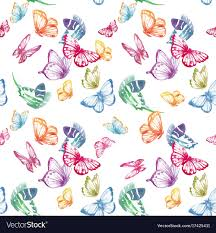 Butterfly Pattern Adorable Watercolor Butterfly Pattern Royalty Free Vector Image