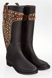 black wellington boots with brown leather details and crystals size 38 fit 39 5 wellies boots shoes starbags products starbags gr