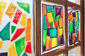 use colored lasagna noodles to create faux stained glass