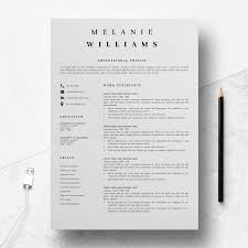Resume Template Minimalist Cv Template Word 4 Page Modern Resume Design A4 And Us Letter Format Instant Digital Download Melanie