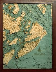 Nautical Wood Charts Hilton Head 3 D Nautical Wood Chart 16 X 20