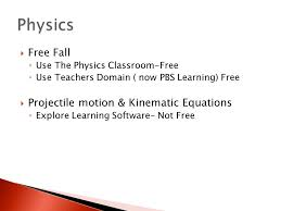6 free fall use the physics classroom free use teachers domain now pbs learning free projectile motion kinematic equations explore