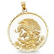eagle snake coin pendant solid 14k yellow gold medallion charm polished style