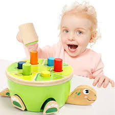 Amazon.com: Baby Pounding Bench Wooden Hammer Toy Pegs Game for 1 ...