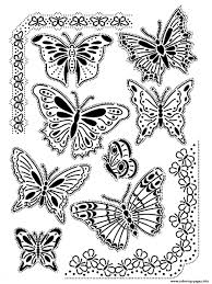 Adult Difficult Butterflies Vintage Coloring Pages Printable
