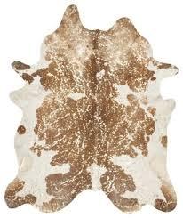 devore metallic cowhide rug in black white and gold