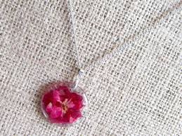 red rose pressed flower in round pendant silver necklace