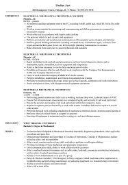 Sample Resume For Mechanical Technician Electrical Mechanical Technician Resume Samples Velvet Jobs 13