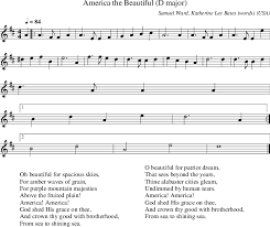 America the Beautiful D major on folk tune finder