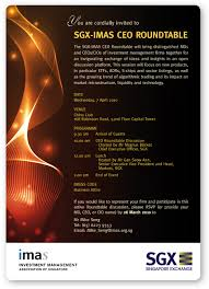 imas is partnering with the sgx to conduct a ceo roundtable on 7 april 2010 we would like to invite mds ceos and cios of our member investment management