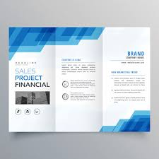 brochure brochure blue geometric trifold business brochure design template vector