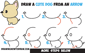cute dogs drawings step by step. Modren Dogs How To Draw A Cute Cartoon Dog Kawaii Style From An Arrow Easy Step By  Drawing For Kids Intended Dogs Drawings By T