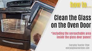 how to clean inside the oven door glass
