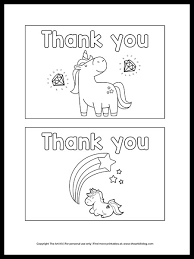 Unicorn coloring page from unicorn category. Free Printable Unicorn Thank You Cards To Color The Art Kit