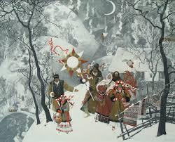 Картина Рождественские колядки цена подробности фото Зимний  Рождественские колядки