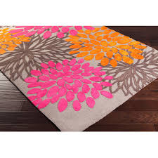 rugs curtains orange pink fl woven area rug for awesome