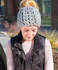 Free Crochet Hat Pattern With Ponytail Hole Inspiration Messy Bun Hat Pattern Collection Red Heart