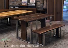 natural edge furniture. anaturaledge blackwalnutdeskfrombookmatchedslabswithbenchandstainlesslegsatchicagoarea furniturestore306c natural edge furniture