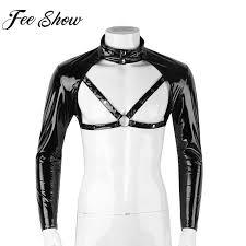 2019 feeshow mens exotic tank chest harness men half tank top leather harness men y clubwear stage costumes from jingju