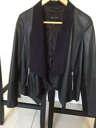 black faux leather waterfall jacket