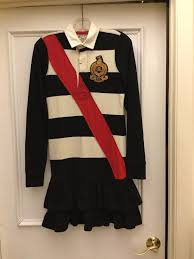 details about rugby ralph lauren polo football shirt dress crest s black stripe colorblocked