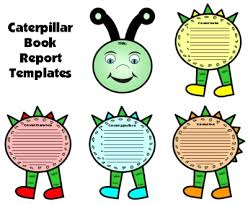 Book Report Template Caterpillar Book Report Set Colorful Story Elements