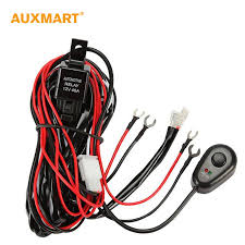 auxmart 2m dc12v 40a wiring harness loom kit fuse relay on off mictuning wiring harness installation at Light Bar Wiring Harness Bulk