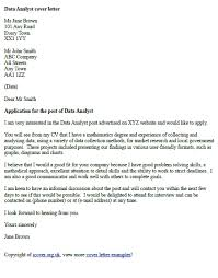 Data Analyst Cover Letter Example Cover Letter Examples Cover