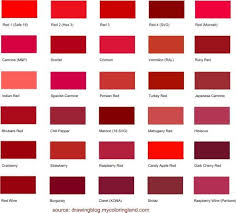 Different Shades Of Red Chart The Red Collection In 2019 Shades Of Red Color Different
