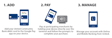 visual aid for adding paying and managing your united munity bank card through android