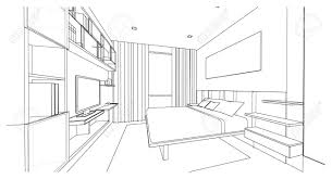 interior design drawings perspective. Interesting Design Interior Design Of Modern Style Bedroom 3D Outline Sketch Perspective  Stock Photo  65989601 For Design Drawings Perspective O