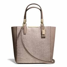 The Madison Mini North south Bonded Tote In Lizard Embossed Leather from  Coach