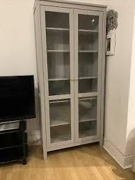 glass door cabinet ikea hemnes grey