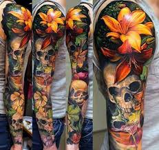 colorful tattoo sleeve designs.  Designs Skull Realistic 3d Lotus Flower Full Sleeve Mens Colorful Tattoos And Tattoo Designs T
