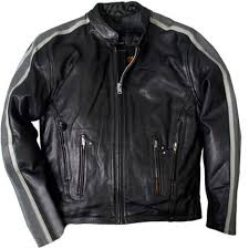 picture of leather jacket with grey arm stripes