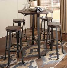 Iron Table And Chairs Set Round Metal Wood Pub Set Chicago Furniture Stores