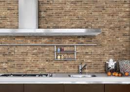 wonderful exposed brick wall kitchen ideas beige tile pattern brick backsplash regtangle stainless steel wall amount