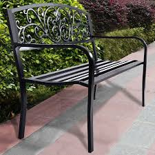 black patio bench 2 seat outdoor lawn garden decoration covered garden bench
