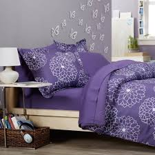 Bedroom: Mesmerizing Pinzon Purple Bedding Set With Sunflower Pattern -  Purple Bedding Sets Full