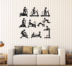 vinyl wall decal sports gym fitness equipment motivation decor stickers 117ig