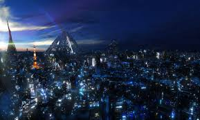 an clouds cityscapes night digital art skyscapes guilty crown wallpaper
